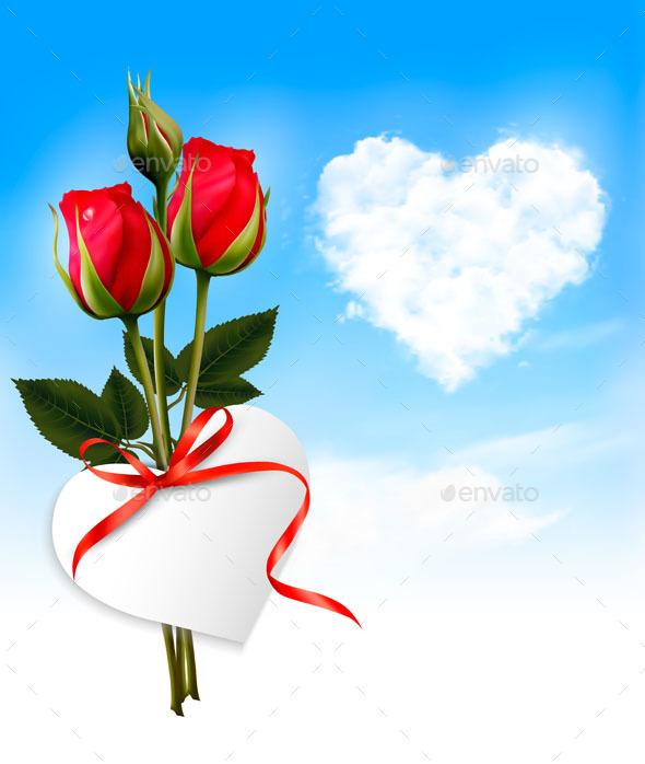 Holiday Background With Heart Cloud and Red Flowers - Miscellaneous Seasons/Holidays