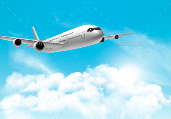 Travel Background with an Airplane and White Clouds - Travel Conceptual