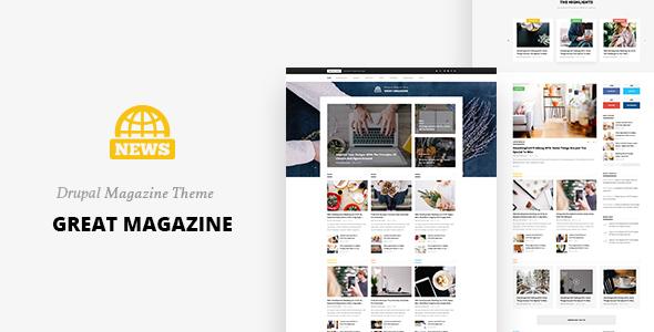 Image of Great Magazine - Responsive Magazine News Drupal 8.5 Theme