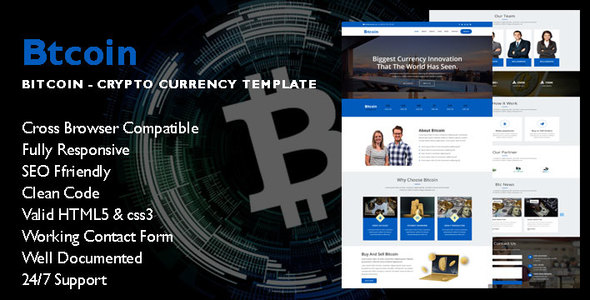 Btcoin - Cryptocurrency Landing Page - Technology Site Templates