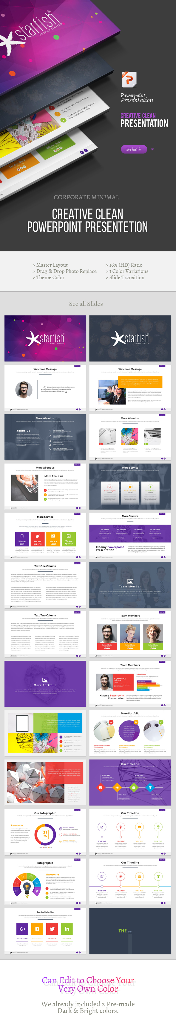 Starfish Creative Powerpoint Template - Business PowerPoint Templates