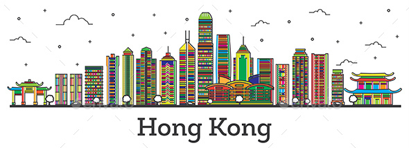 Hong Kong China City Skyline with Color Buildings - Buildings Objects