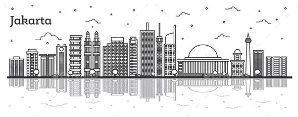 Jakarta Indonesia City Skyline - Buildings Objects