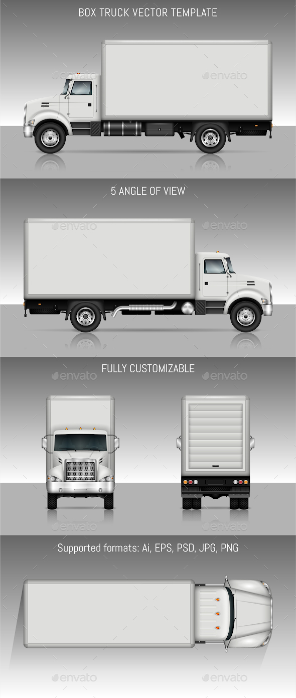 Box Truck Vector Template - Man-made Objects Objects