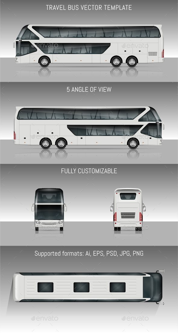 Travel bus vector template - Man-made Objects Objects