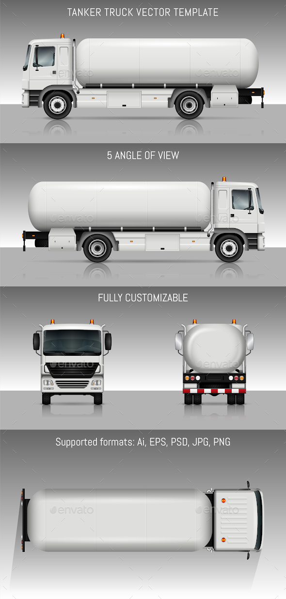 Tanker Truck Vector Template - Man-made Objects Objects