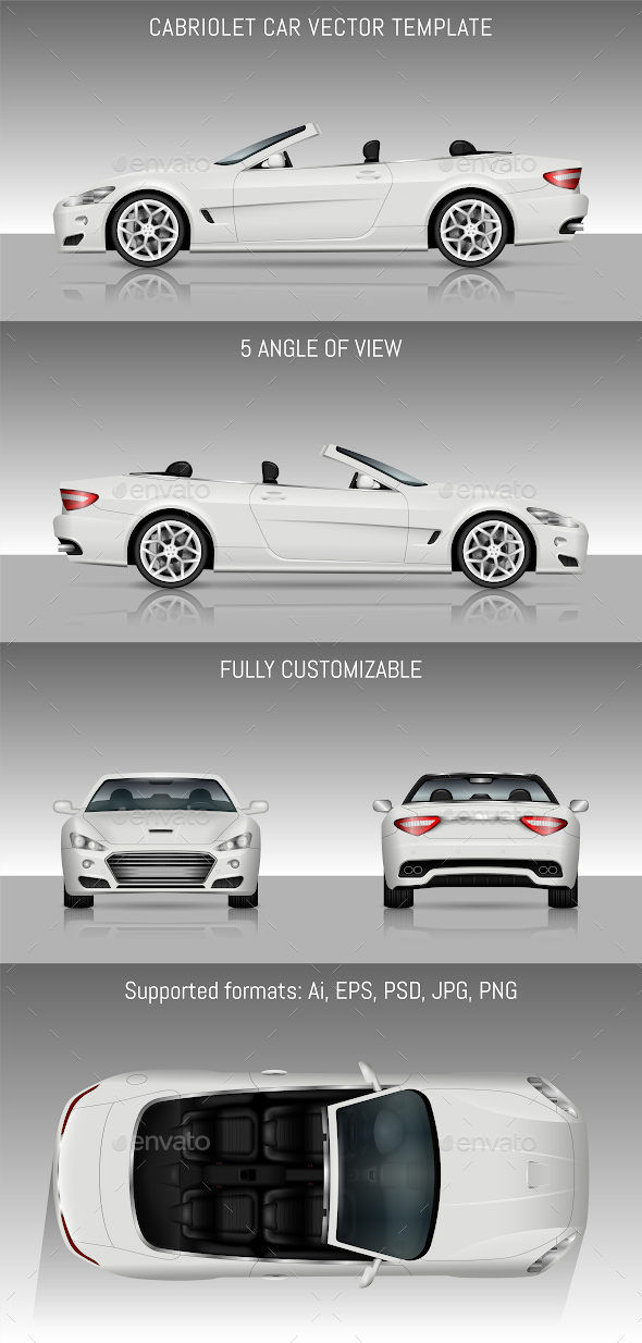 Cabriolet Car Vector Template - Man-made Objects Objects
