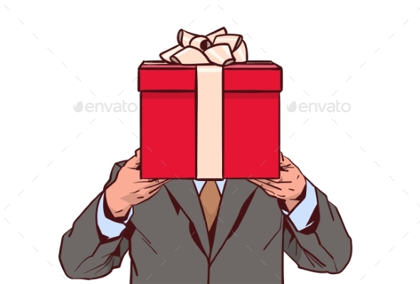 Business Man Holding Red Gift Box Isolated - Man-made Objects Objects
