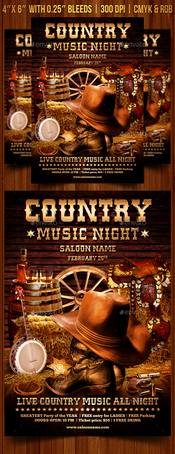 Country Music Flyer Template - Clubs & Parties Events