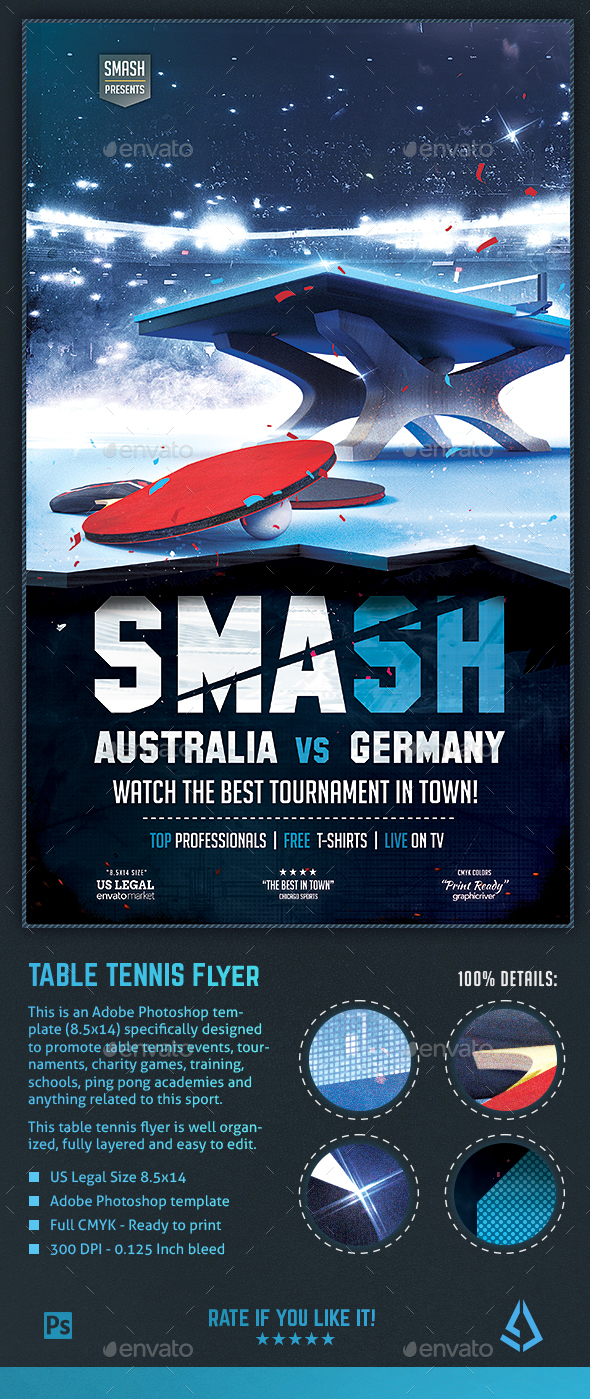 Table Tennis Flyer - Ping Pong Tournament Poster Template - Sports Events