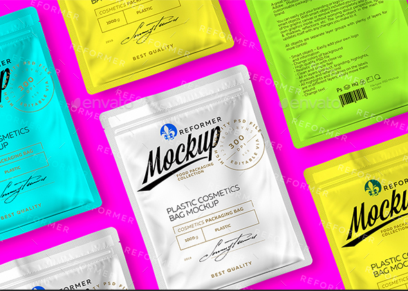Plastic Cosmetics Bag 2 Mock-ups Files - Packaging Product Mock-Ups