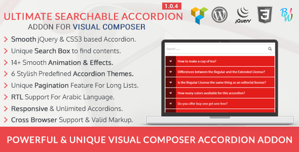 Ultimate Searchable Accordion - Visual Composer Addon - CodeCanyon Item for Sale