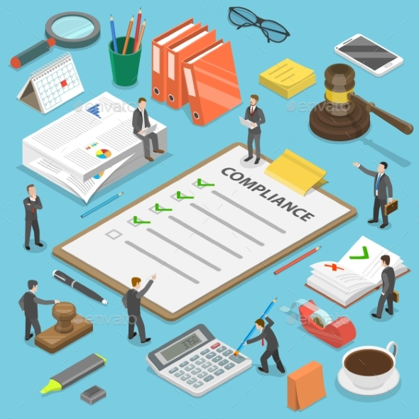 Regulatory Compliance Flat Isometric Vector - Concepts Business