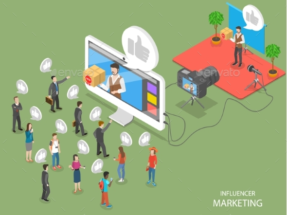 Influencer Marketing Flat Isometric Vector Concept - Media Technology
