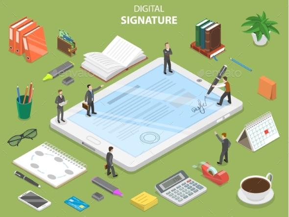 Digital Signature Flat Isometric Vector Concept - Computers Technology