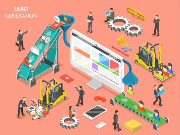 Lead Generation Flat Isometric Vector Concept - Concepts Business