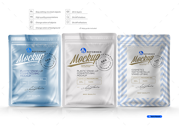 Plastic Stand-up Cosmetics Bag Mockup - Packaging Product Mock-Ups