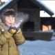 Child Blows on the Snow and Smiles - VideoHive Item for Sale