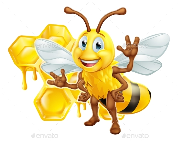 Bee Cartoon Character With Honeycomb - Animals Characters