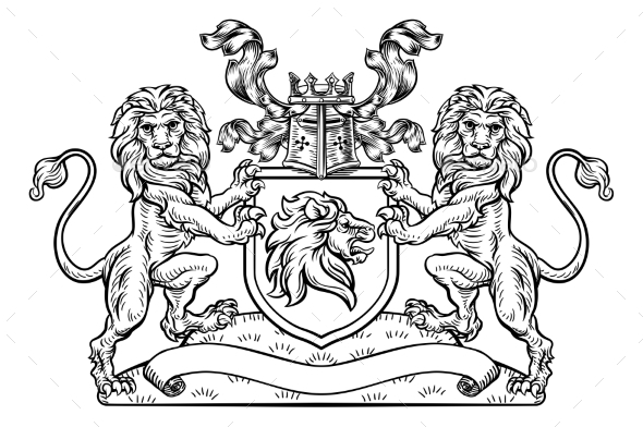 Lions Crest Shield Coat of Arms Heraldic Emblem - Miscellaneous Vectors