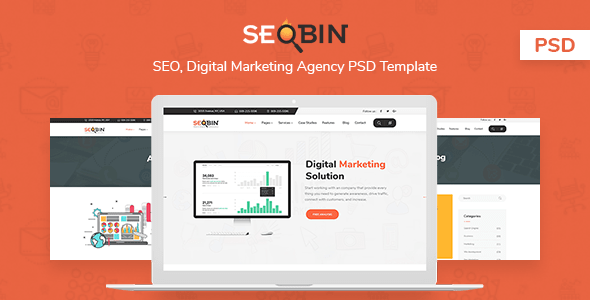 SeoBin | SEO, Social Media and Marketing PSD Template
