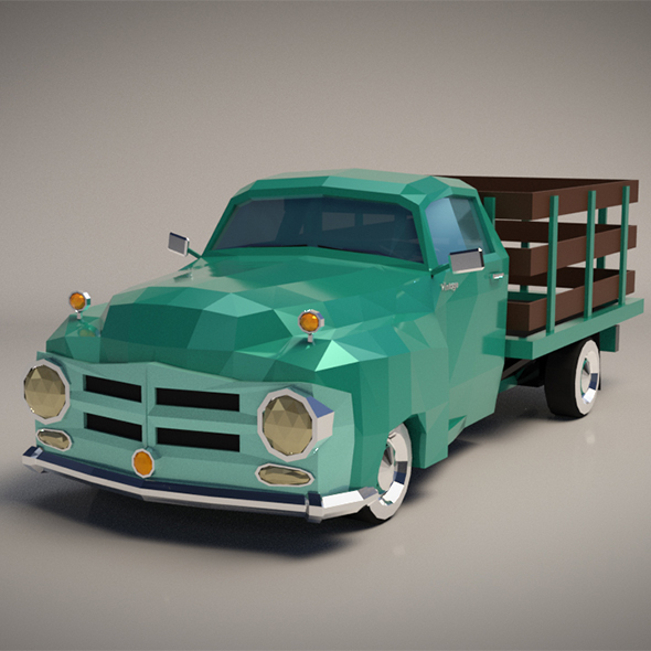 Low-Poly Cartoon Vintage Pickup Truck - 3DOcean Item for Sale