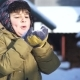 Child Blows on the Snow and It Flies Away - VideoHive Item for Sale