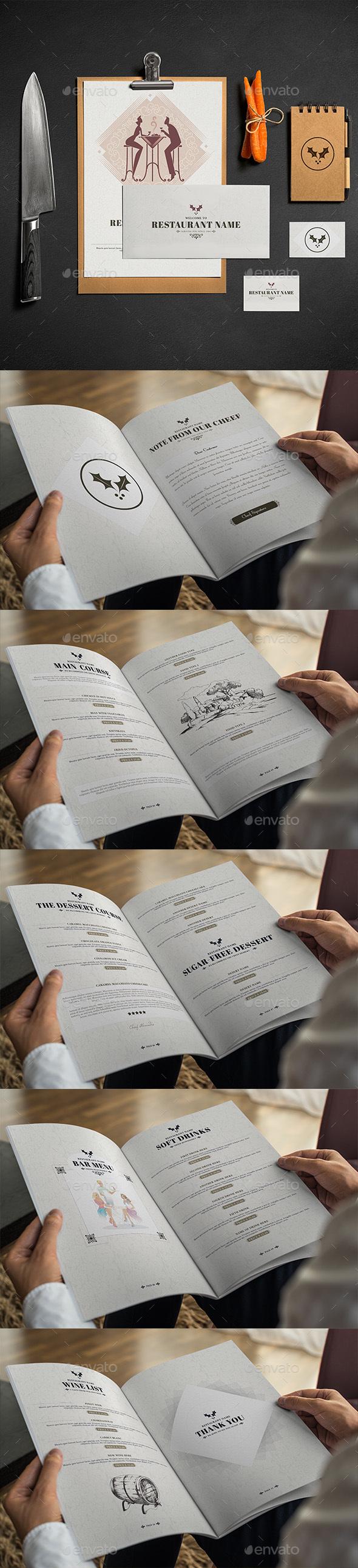 Classic And Elegant Restaurant Menu - Food Menus Print Templates
