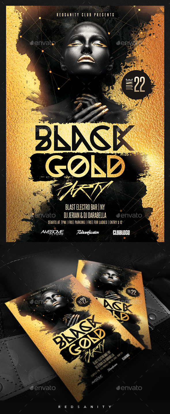 Black Gold Party Flyer - Clubs & Parties Events