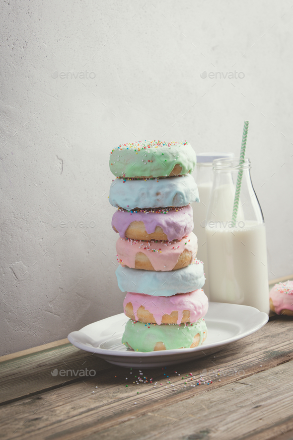 Milk and doughnuts - Stock Photo - Images