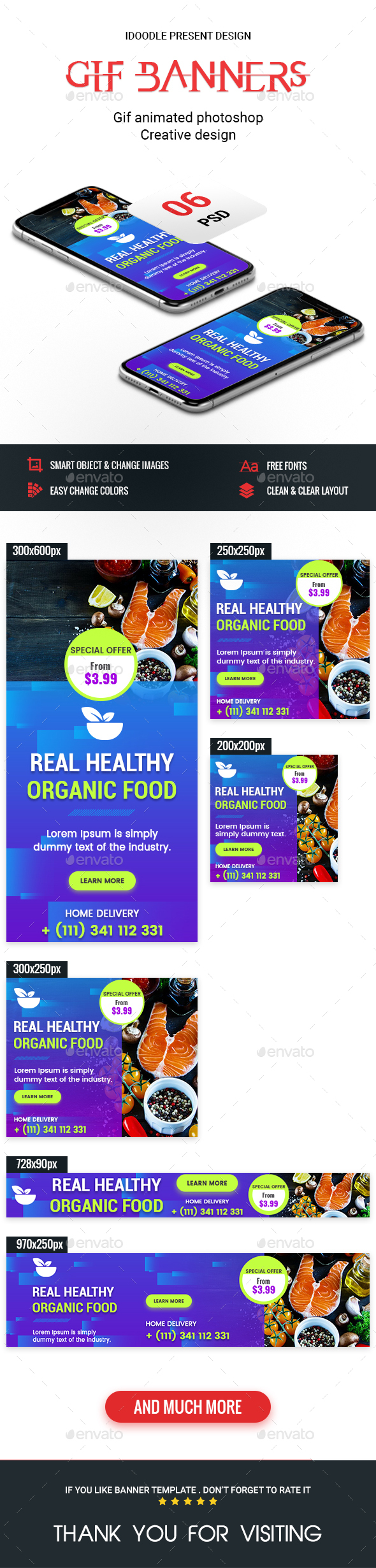 Animated GIF Banner Ads - Food & Restaurant Banners Ad - Banners & Ads Web Elements