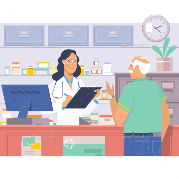Pharmacist at Counter in Pharmacy. - Health/Medicine Conceptual