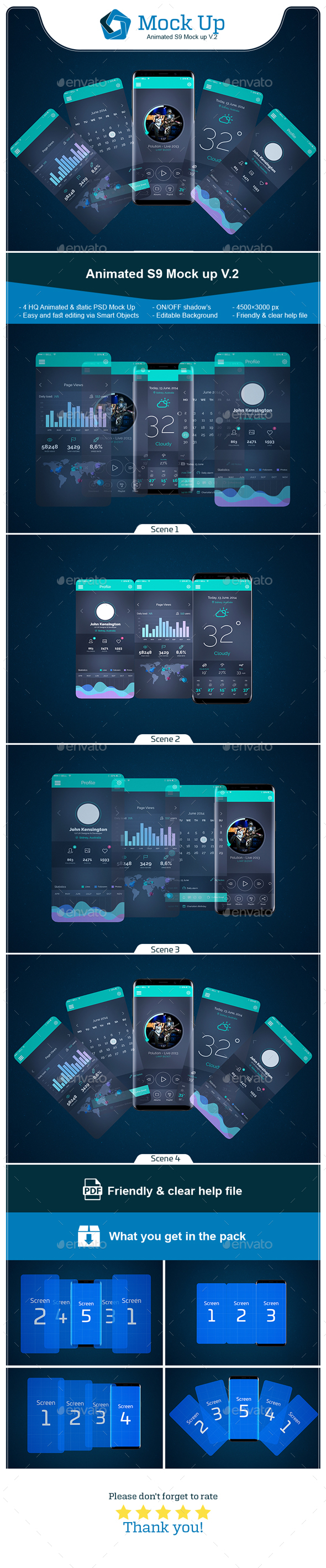 Animated S9 MockUp V.2 - Mobile Displays