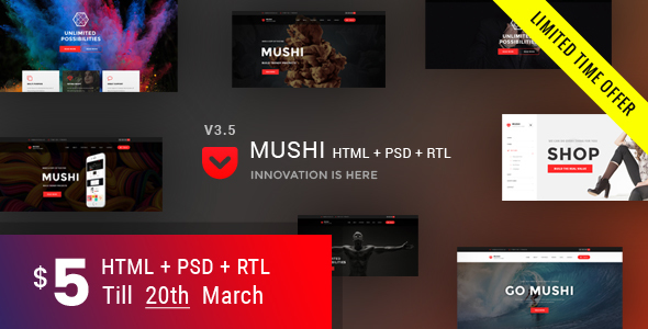 Mushi | Multipurpose HTML Template