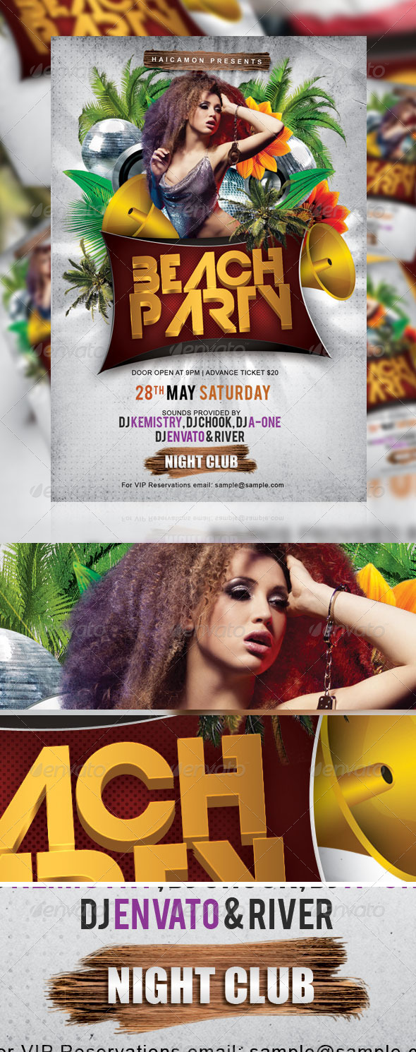 Beach Night Party Flyer - Events Flyers
