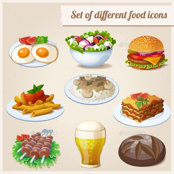 Set of Different Food Icons. - Food Objects