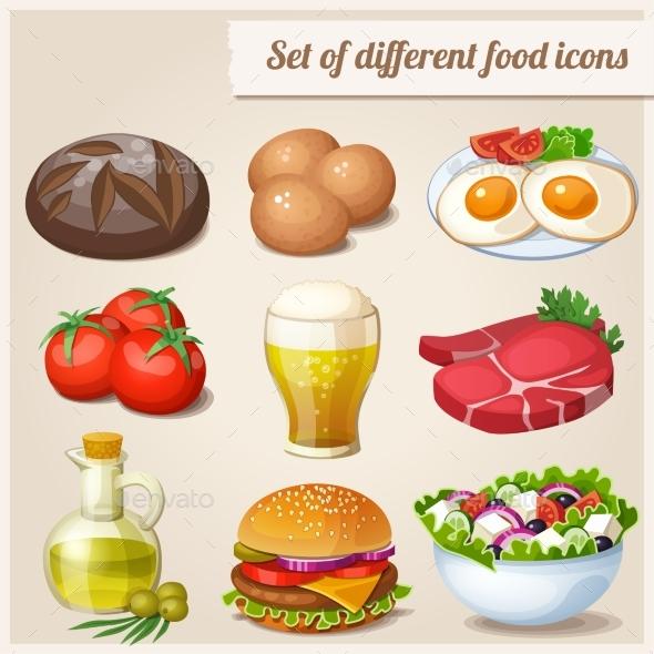 Set of Different Food Icons - Food Objects