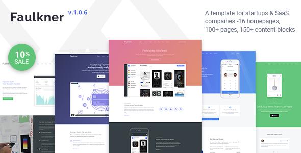 Image of Faulkner - Responsive Startup, SaaS, Web App, Mobile App HTML5 Template
