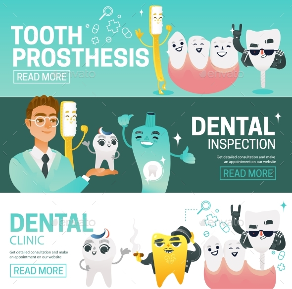 Set of Horizontal Web Banners with Such Dental - Health/Medicine Conceptual