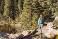 Tourist on trail near Bear Lake in Colorado - PhotoDune Item for Sale