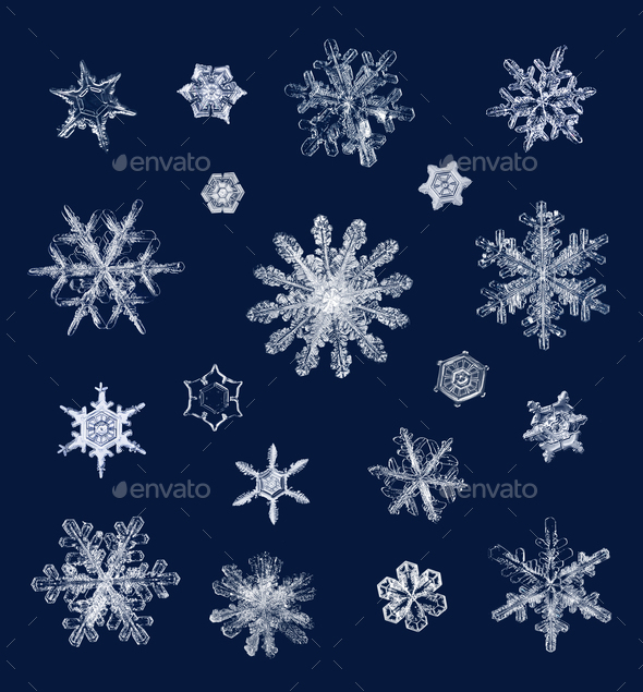Real ice snow crystals macro compilation - Stock Photo - Images