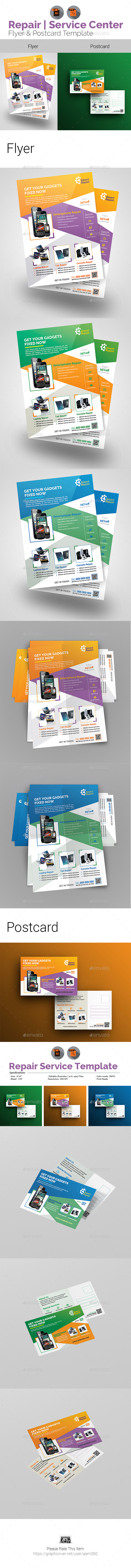 Tech Repair Center Flyer & Postcard Bundle - Print Templates