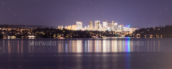 Light Reflection Water Bellevue Washington Downtown City Skyline - Stock Photo - Images
