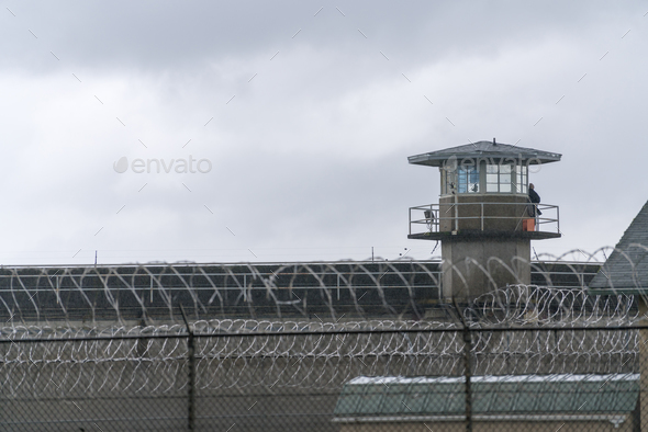 Guard Tower Barbed Wire Fence Boundary Federal Prison - Stock Photo - Images
