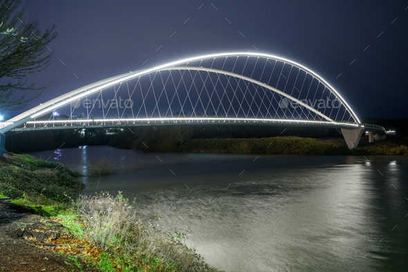 Lighted Pedestrian Bridge Crossing Willamette River Riverfront Park - Stock Photo - Images