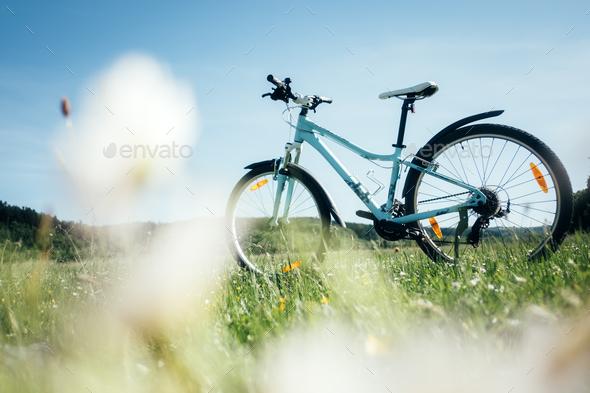 Blue female bike - Stock Photo - Images