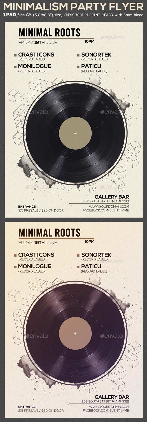 Minimal Vinyl Party Flyer Template - Clubs & Parties Events