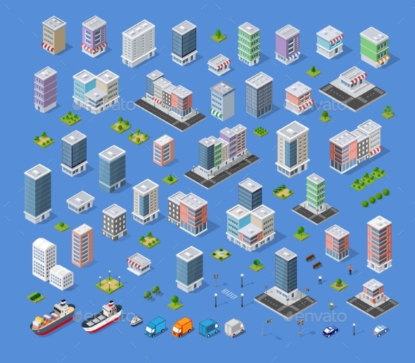 Building City Map Kit - Industries Business