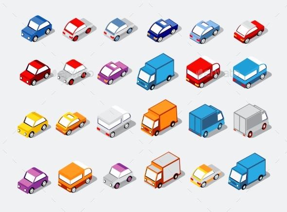 Isometric Set Cars - Miscellaneous Vectors