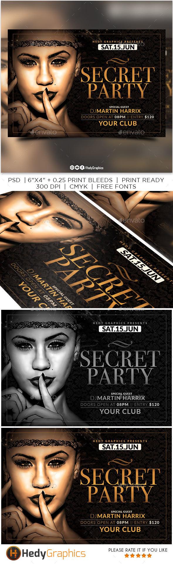 Secret Party Flyer - Clubs & Parties Events